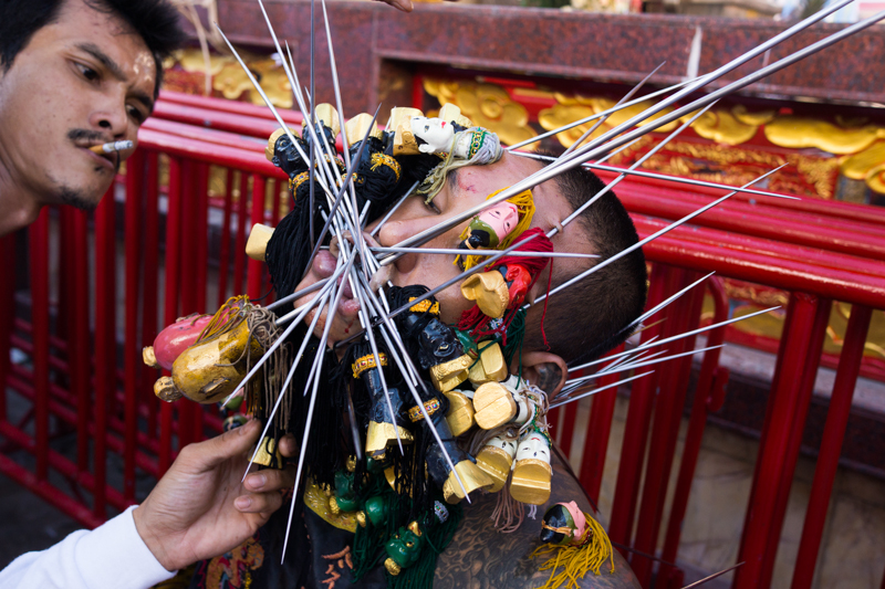 Extreme piercings at Jui Tui shrine, Phuket.