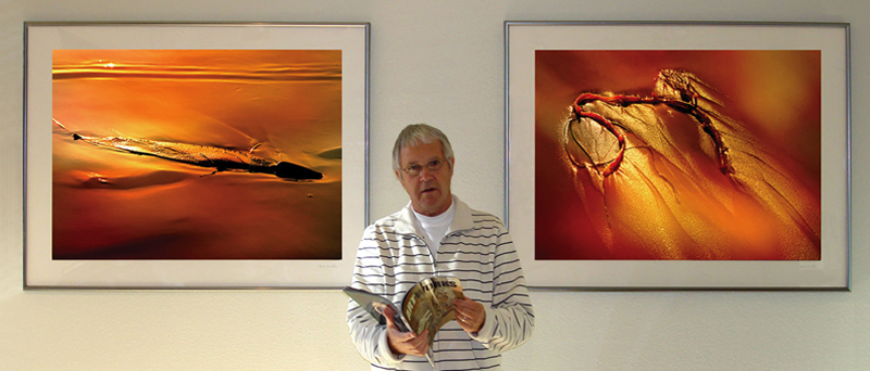 Bert Ilhenfeld frente ados desus extraordinariasfotos de Kelp, un tipo de alga marina arrastrada por las olas hasta la playa,