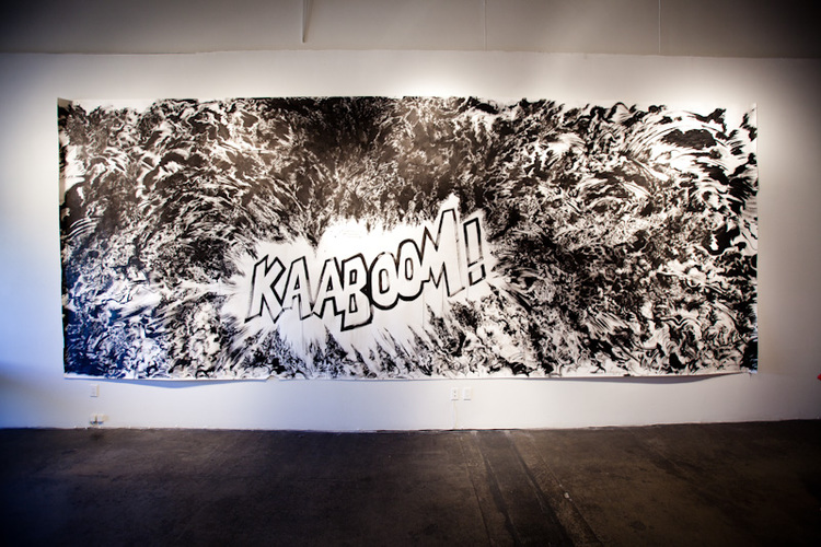 Arien Valizadeh  Completed He Became, and His Appearance Tore Up the Darkness  2010  sumi ink on paper  288 x 108 inches