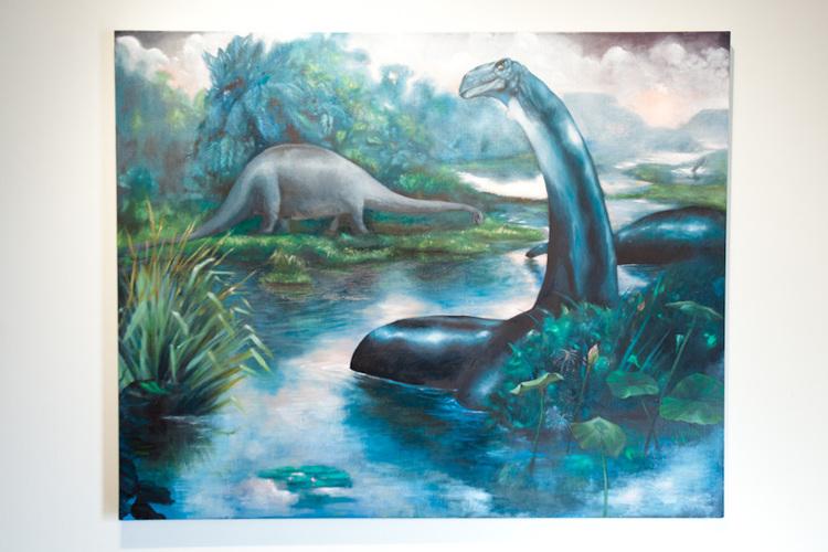 Louis Eisner Waterlillies (Charles Knight Brontosaurus) 2011 Oil on Linen 60 x 40 inches