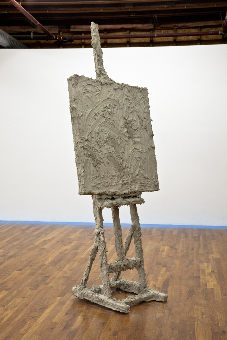 Never Titled 2012 Easel, canvas stretcher bars, concrete 24 x 36 x 91 inches