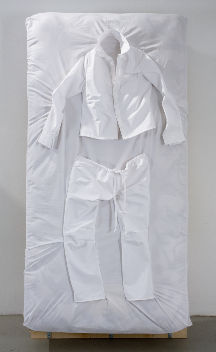 Dylan Kawahara Pajama Set 2009 Cotton fabric, twin mattress 37 x 72 x 12 inches