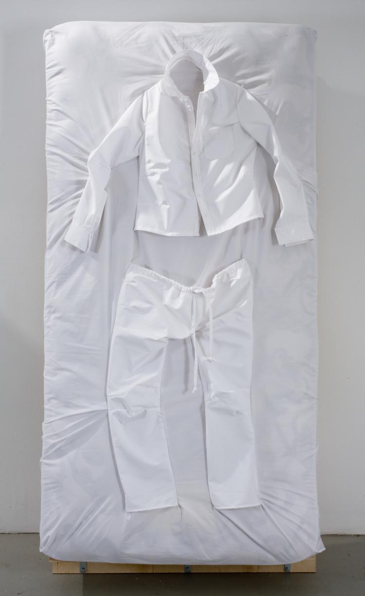 Dylan Kawahara  Pajama Set  2009  Cotton fabric, twin mattress  37 x 72 x 12 inches