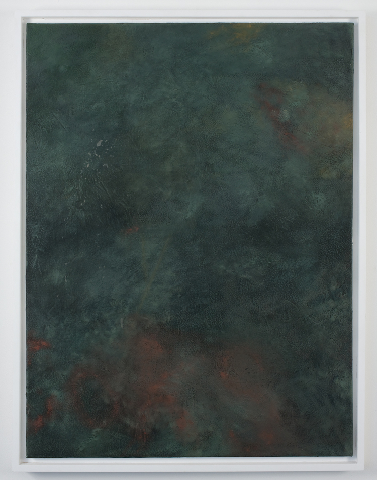 Lucien Smith  Untitled (Green Surface)  2009  Molding paste, oil, paint on canvas  30 x 40 inches