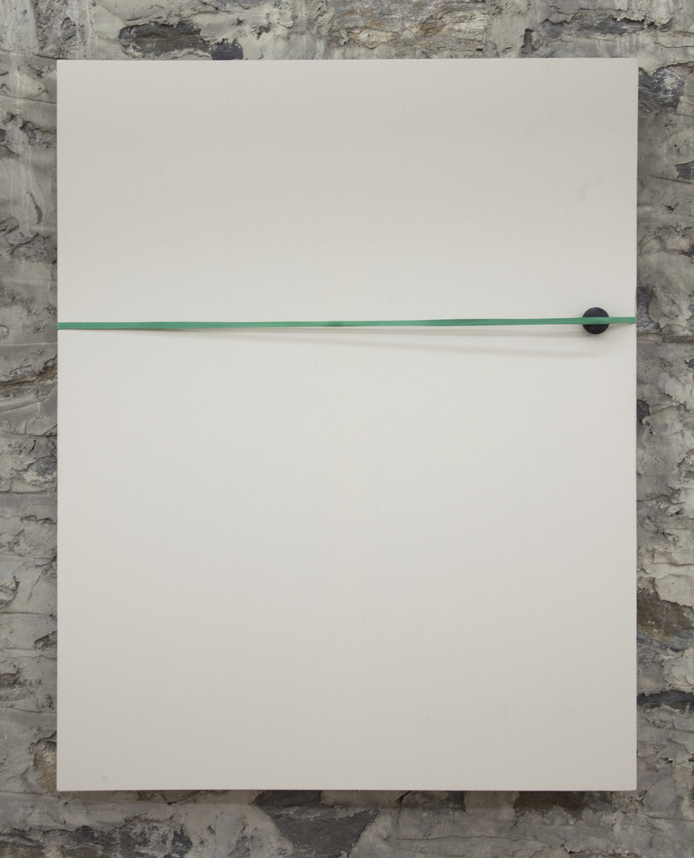 The Gap 2013  Industrial rubber band, dirt and handball on canvas 48 x 60 inches