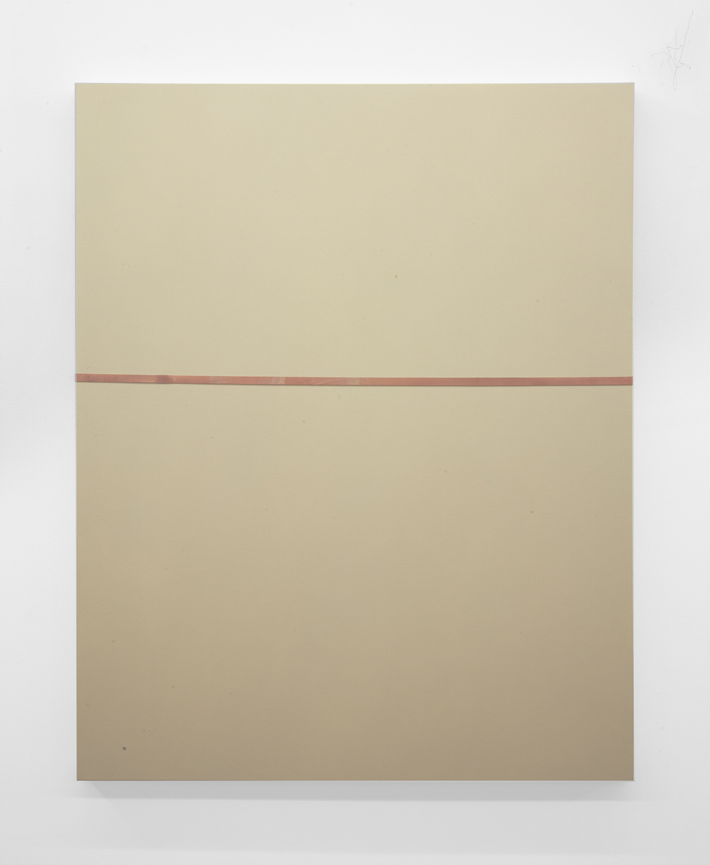 Tan Line  2013 Oil, industrial rubber band on canvas 60 x 48 inches
