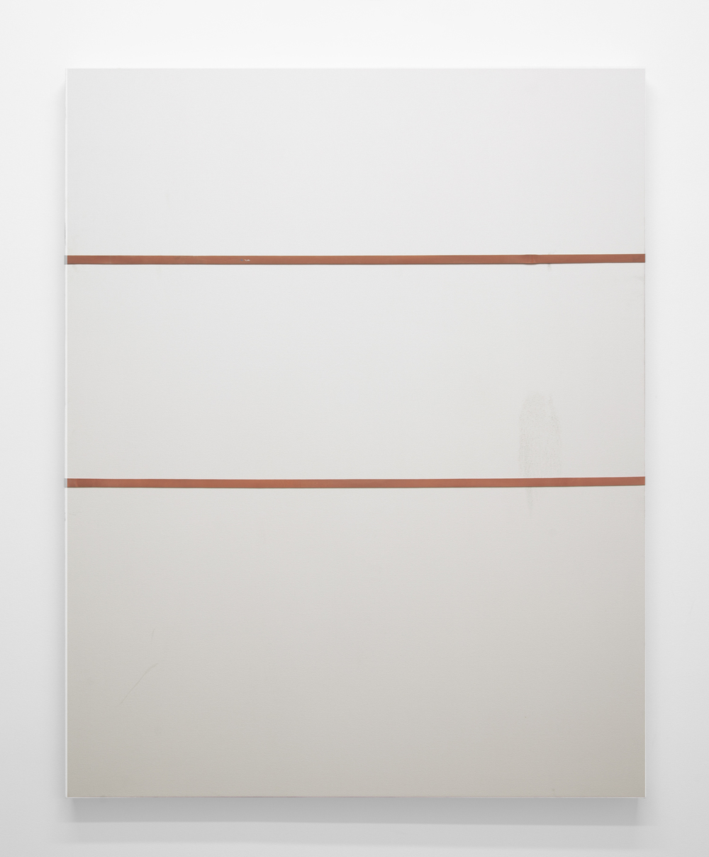 Who's Schmeling  2013 Gesso, dirt and industrial rubber bands on canvas 48 x 60 inches