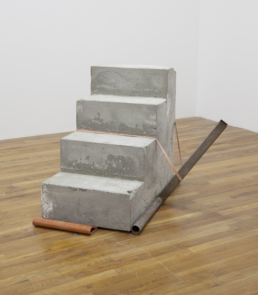 Goin' Down the Keys  2013 Concrete, steel, industrial rubber band, lacquer 32 x 40 x 40 inches