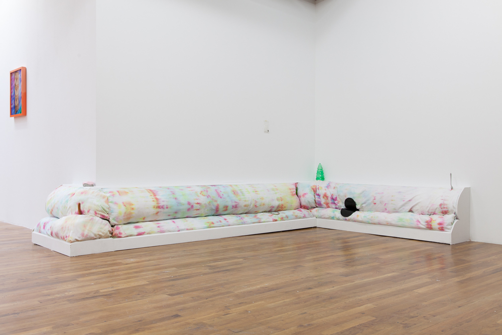 Carol Hu & Izabelle New  22 for 60 (couch for Still House)   2013  Wood, fabric, dye, artificial hot dog, diamond ring, fork from Still House, wasp in bag< leather  Dimensions variable