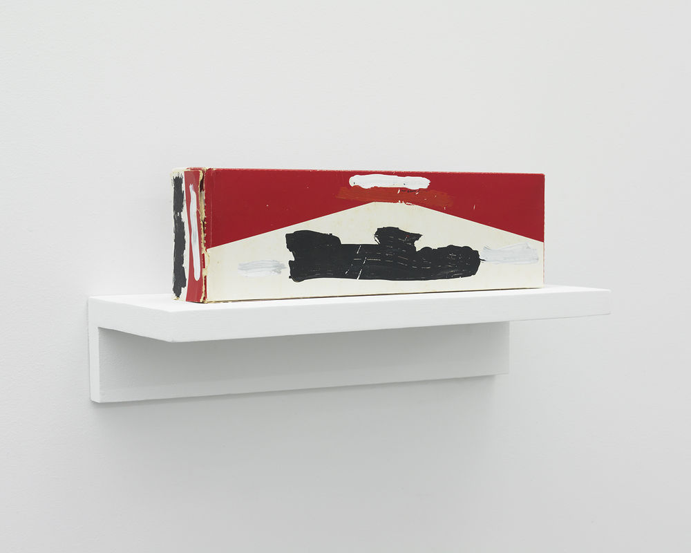 Mark Flood Muted Cigarette Carton 1983 Acrylic on found object 4 x 10 3/4 x 2 inches