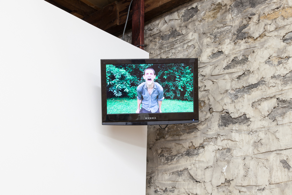 He's Having a Moment   2013 Flat screen television. wall mount and 15 minute looped video  20 x 19 x 27 inches