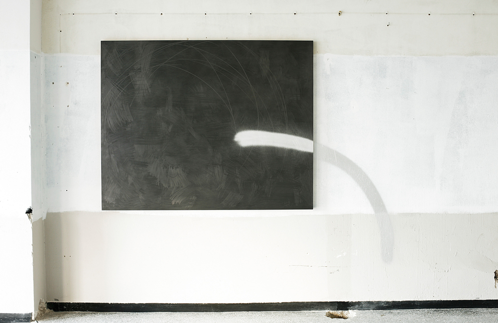 Brendan Lynch  Untitled (From here to there #2) 2013 Graphite and spray paint from panel to wall  72 x 84 inches
