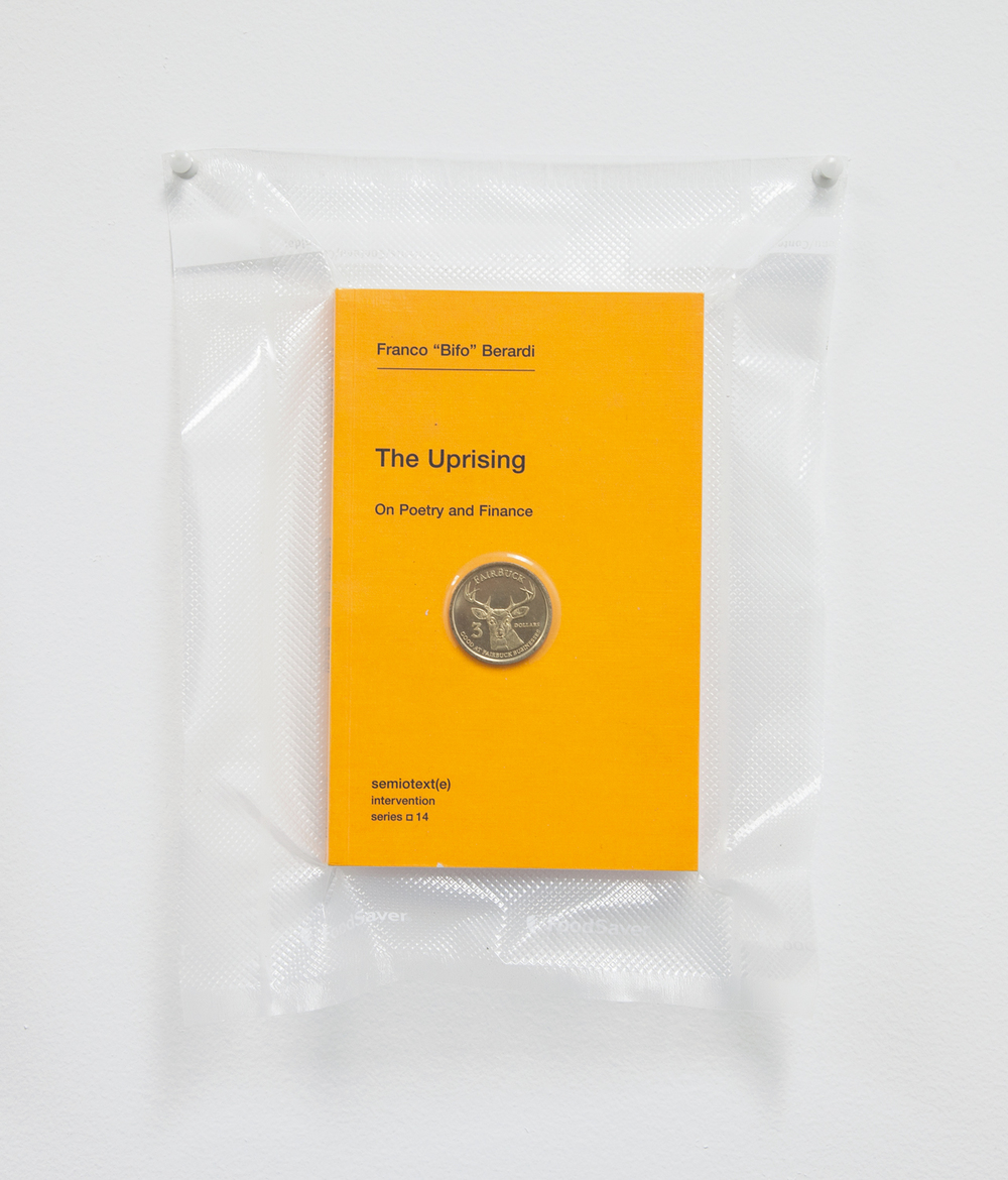 Brad Troemel    TSA No Fly List Vacuum Sealed Bifo - 'The Uprising' with Fairfax, California $20 Buck time/labor barter coin  , 2013    10 x 8 inches
