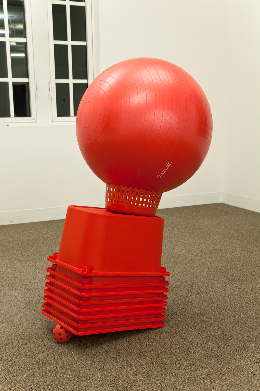 Dylan Lynch  Untitled  2012 Buckets, fitness ball, wiffle ball 53 x 33 x 23 inches