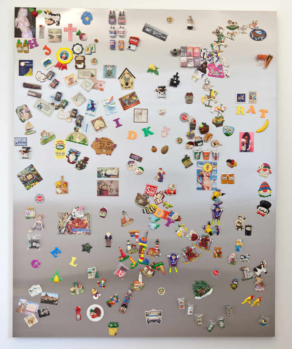 Nick Darmstaedter  Hand Job  2012 Magnets on galvanized steel panel 60 x 48 inches