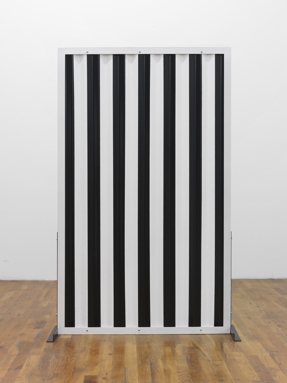 Standing Partition (vertical stripes)  2013 Steel, Hardware, Poly-acrylic paint 60 x 36 x 16 inches