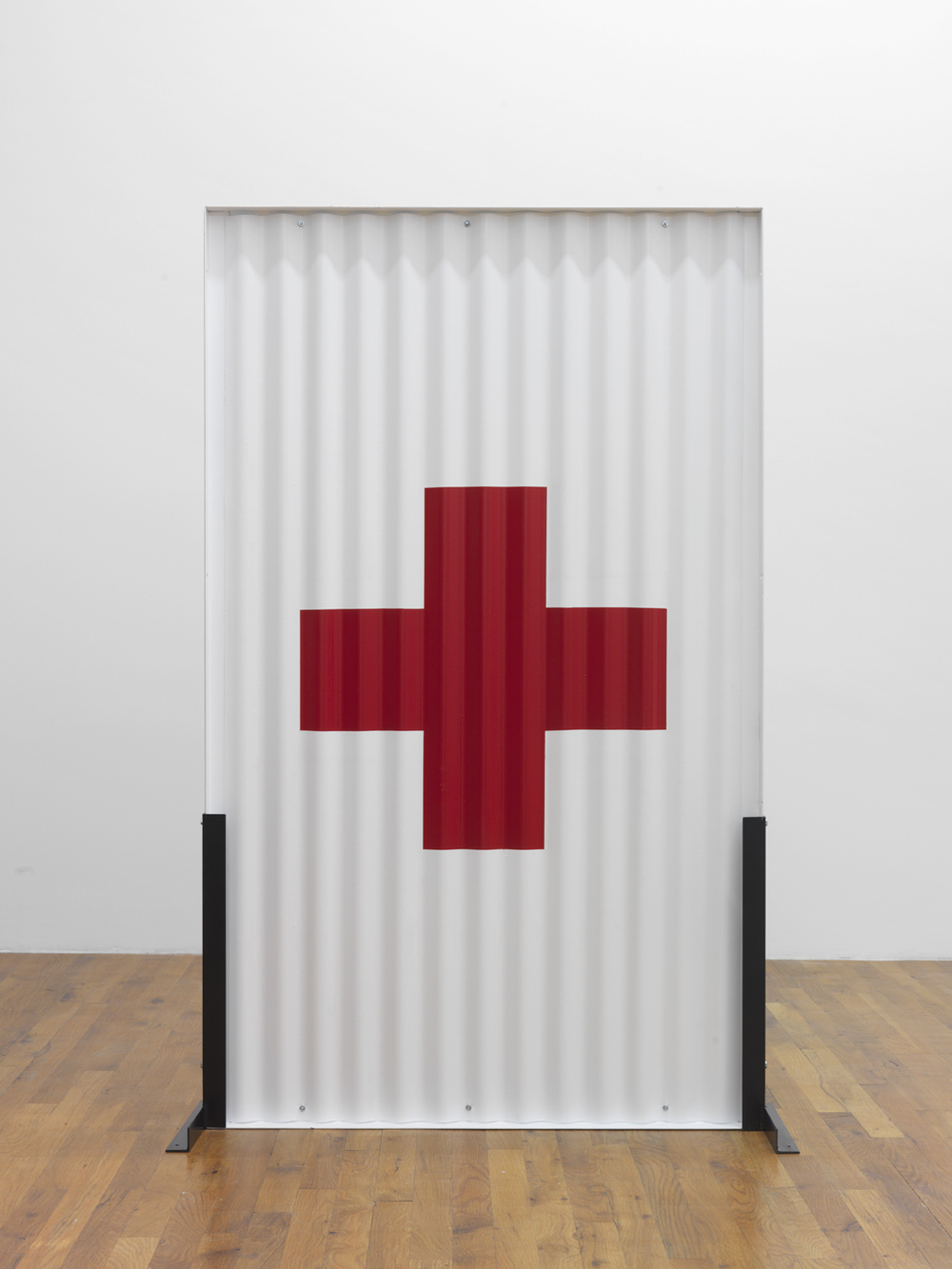 Standing Partition (red cross  )   2013 Steel, Hardware, Poly-acrylic paint 60 x 36 x 16 inches