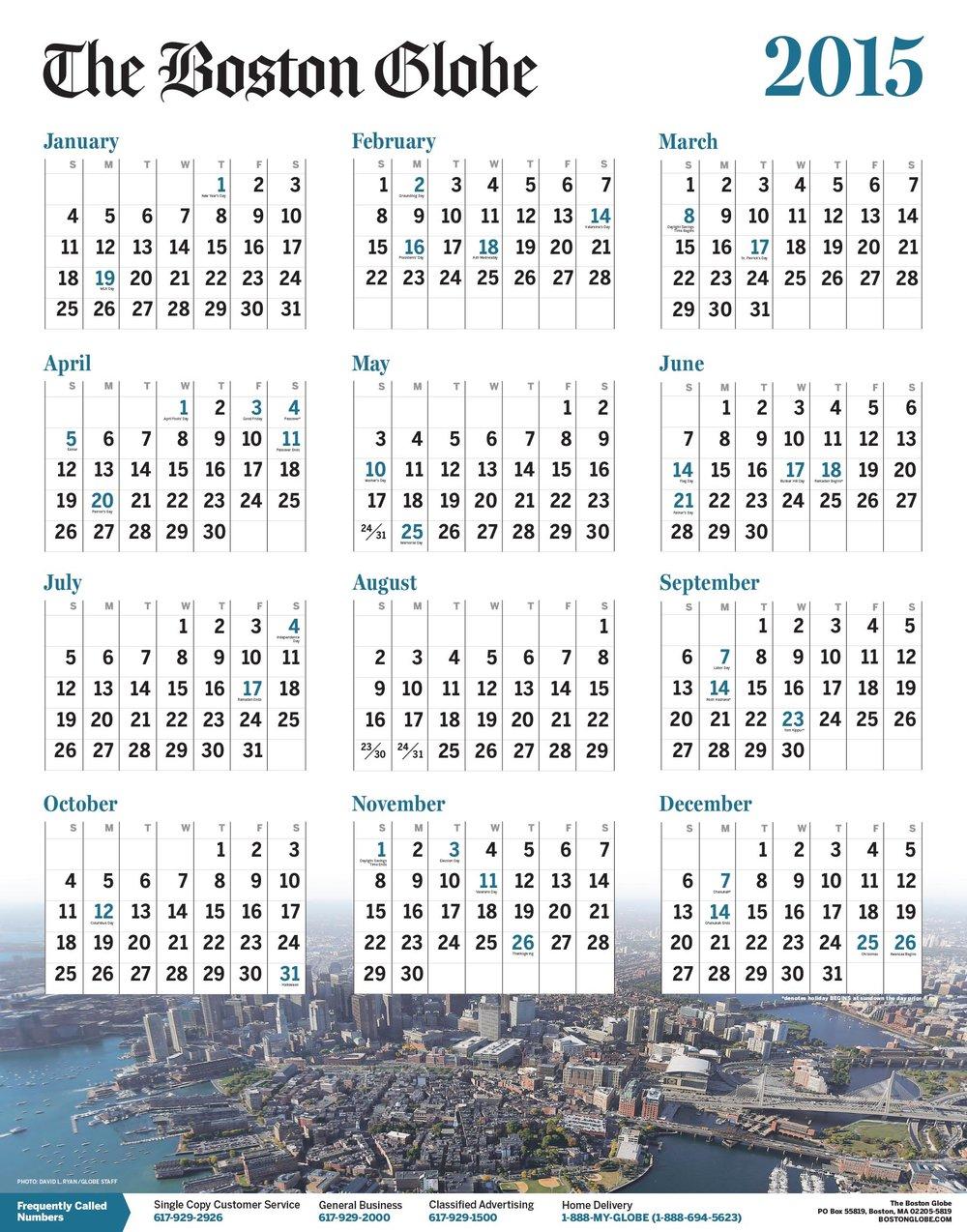 Boston Globe 2015 Calendar