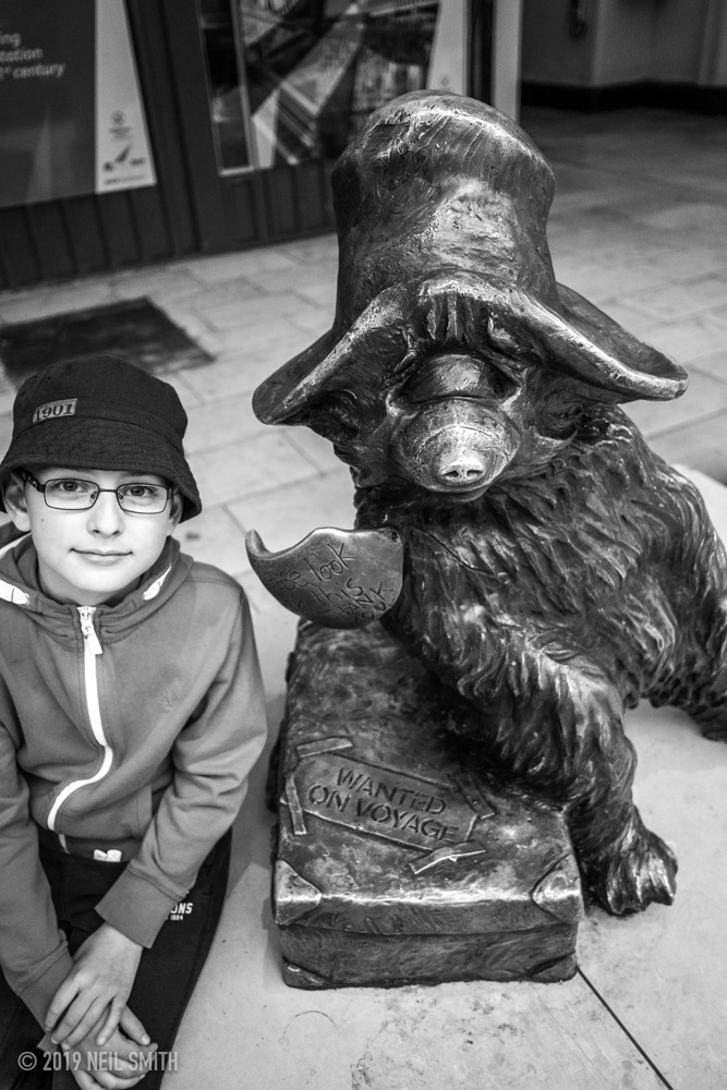 James and Paddington Bear at Platform 1