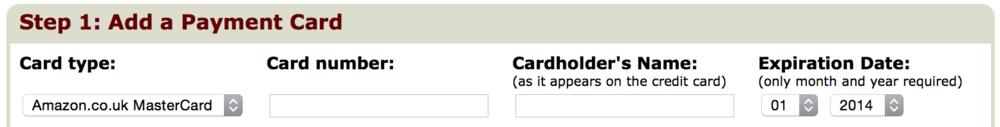 Amazon.com credit card entry UI