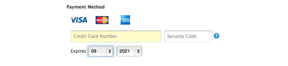Apple.com credit card entry UI