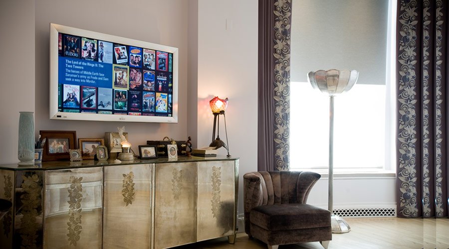 Flat screen TV with Kaleidescape Media Server