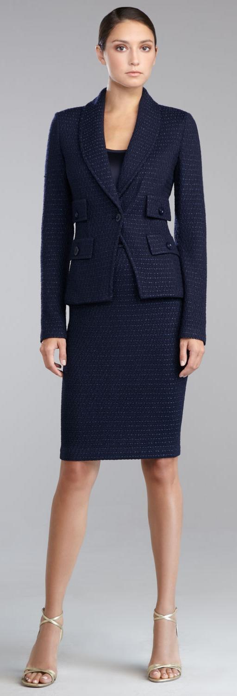 St. John Eastside Knit Fitted Blazer, Liquid Satin Shell & Eastside Knit Pencil Skirt