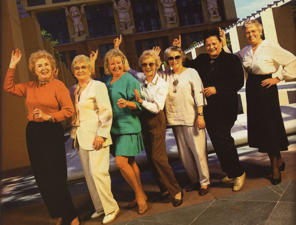 Sylvia Roemer, Dodie Roberts, Robyn Roberts, Marie Johnston, Carmen Sanderson, Alice Davis and Becky Fallberg at the Walt Disney Studios. Perhaps you should ask them if Walt was a gender bigot.
