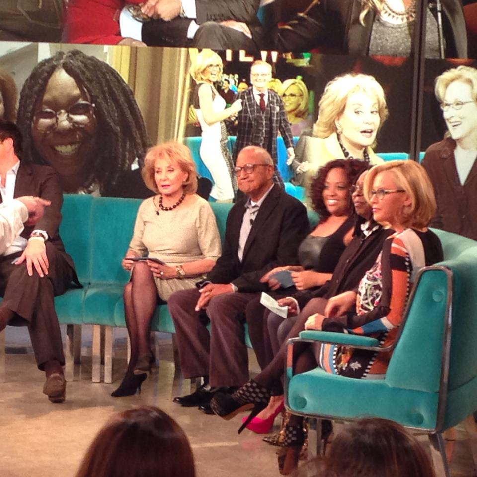 Here I am joined by Josh Elliott, Barbara Walters, Sherrie Sheppard, Whoppi Goldberg and Jenni McCathy. This is how you have fun while in New York. Live television is a kick.