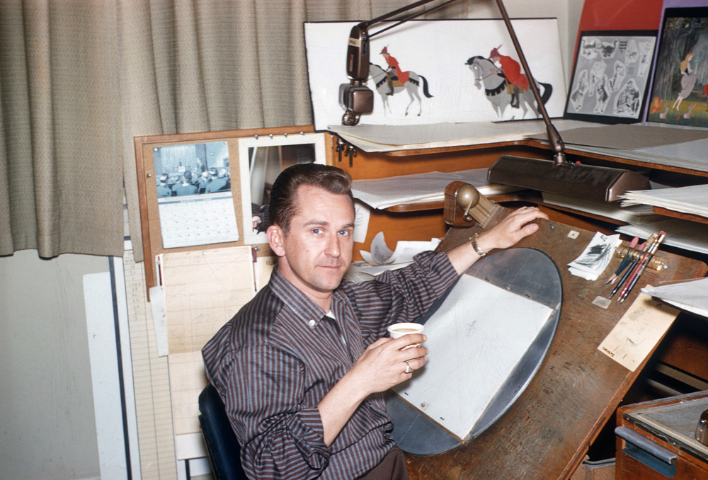 The multi-talented Bob Ogle at his desk at the Walt Disney Studio. This photo was taken during the production of Walt Disney's Sleeping Beauty back in 1957.