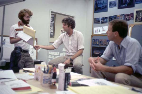Disney story artist, Pete Young with director, Ron Clements (left) and writer, Steve Hulett.