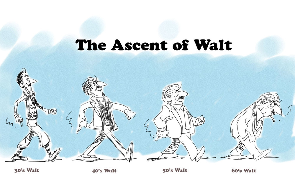 "My view of Walt's life in four cartoon sketches. Think how awesome it would be to have had, ""70's Walt"" and ""80's Walt added to the group. Man, that would have been something!"