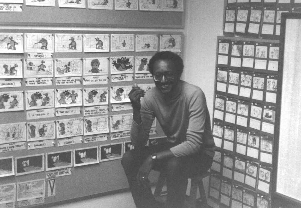 A young Floyd Norman hard at work on an animated project already deep in trouble. In this goofy movie business it's not unusual for potential projects to go down in flames.