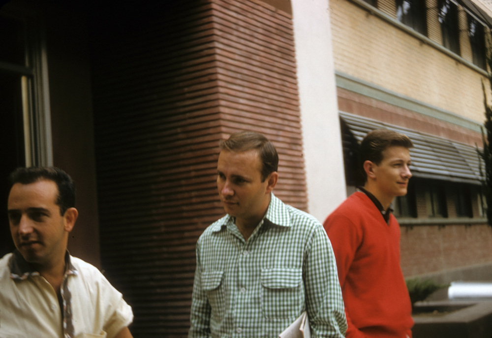 A group of young Disney animation artists take a break outside Walt's Animation Building. This photograph could have been taken today - but it's a sunny morning in 1956