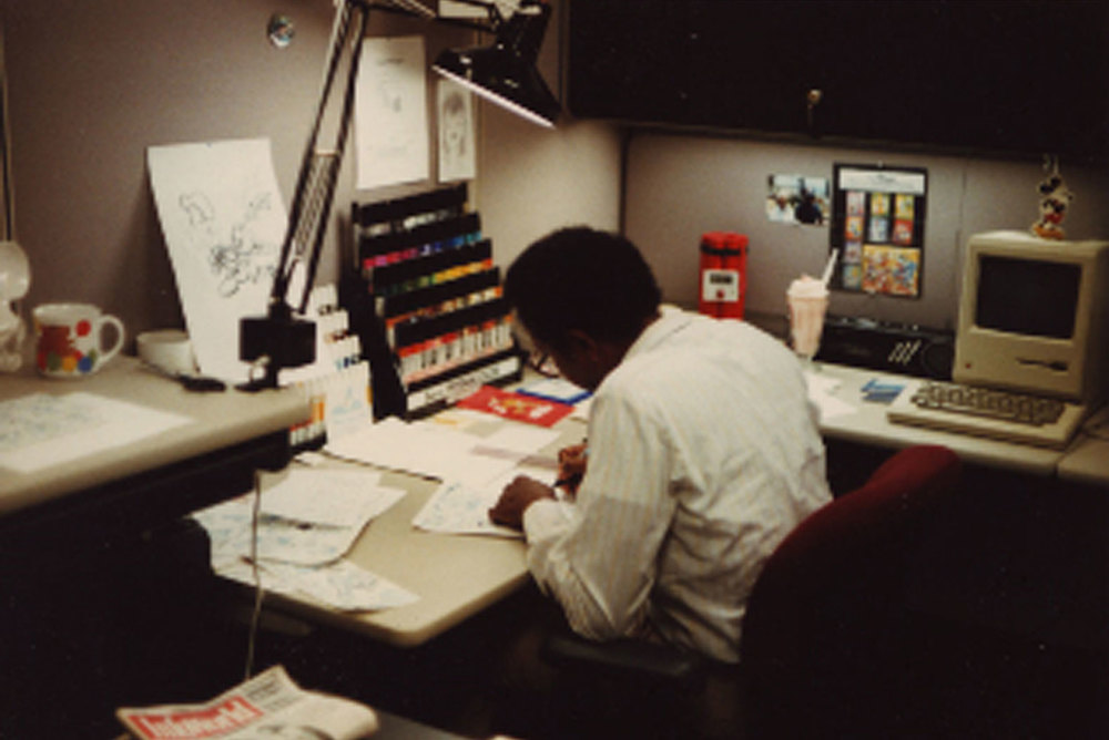 A young Floyd works at his desk in the lower level of the ROD Building on the Disney Studio lot.