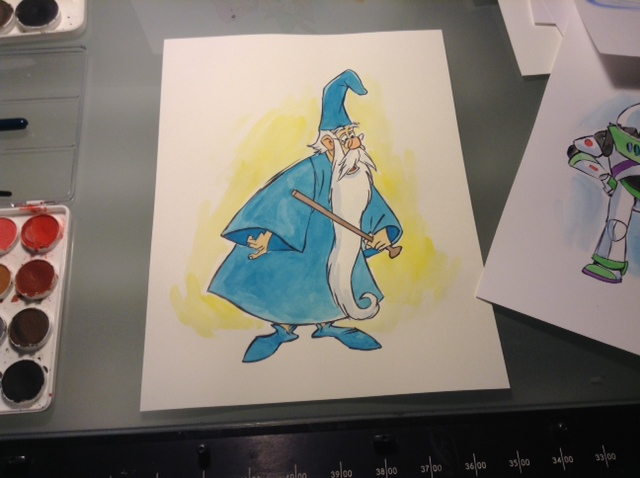 On my drawing table this morning. Milt Kahl's wonderful, Merlin the Magician.