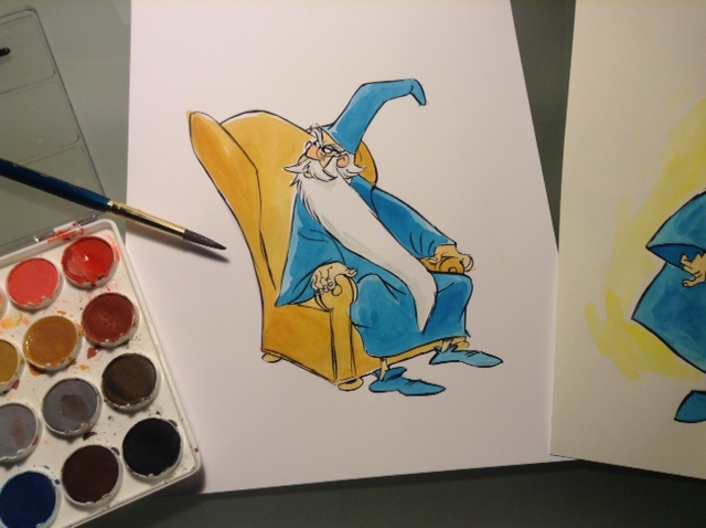 I did this color sketch of Merlin the Magician this morning while remembering working with Milt Kahl.