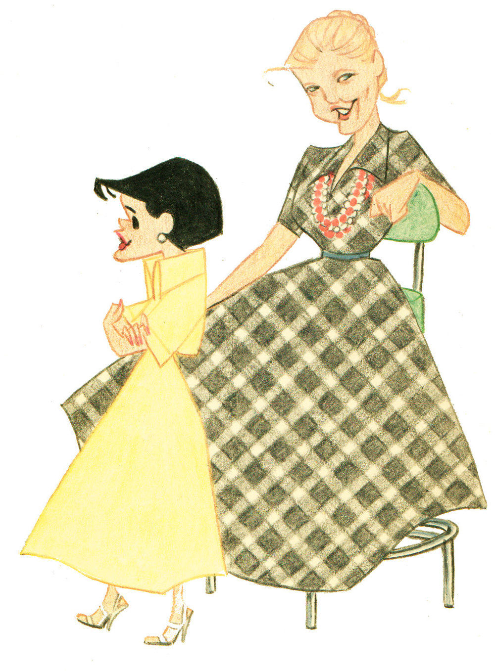 This wonderful drawing of Bea Tomargo and Elizabeth Case was created by animator, John Sparey. John often sketched the Disney artists back in the fifties. His drawings are remarkable and spot on.
