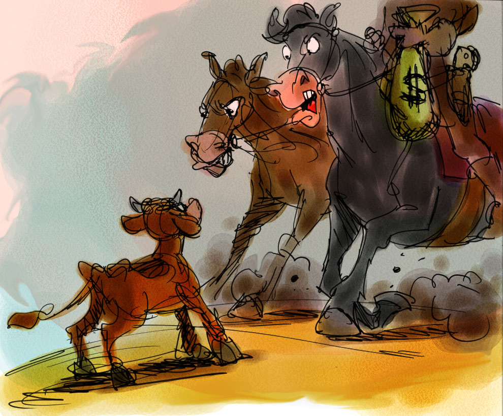 One of the many sketches produced during development of a Disney cartoon western. Unfortunately, the film was never produced.