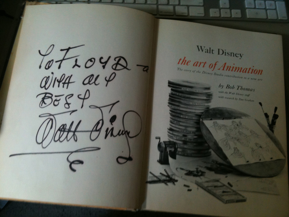 Walt Disney signed this copy of The Art of Animation back in the fifties. How cool is that?