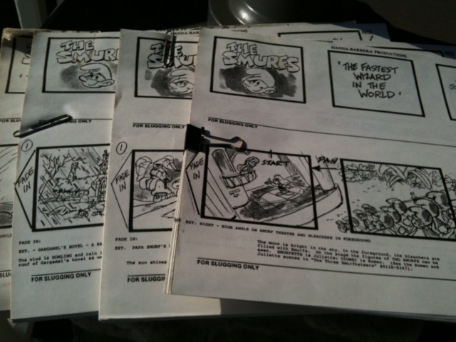 "A stack of storyboards for the animated show, ""The Smurfs."" I did more storyboards than I can remember over a ten year period."