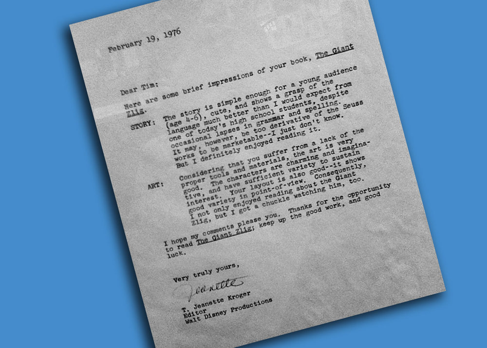 Jeanette Steiner - then, T. Jeanette Kroger wrote this reply to director, Tim Burton back in the seventies. The young man from Burbank went on to some degree of success in the movie industry.