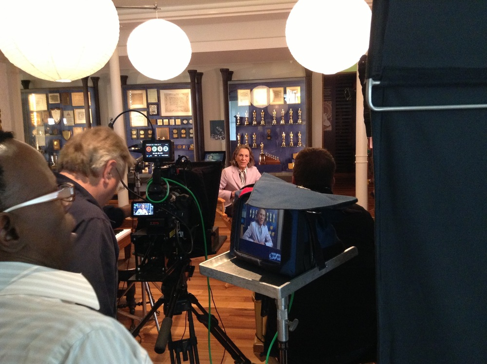 Walt Disney's daughter, Diane Disney Miller filming at the Walt Disney Family Museum. We were joined by composer, Richard Sherman and it was a memorable day. It was also our last together.