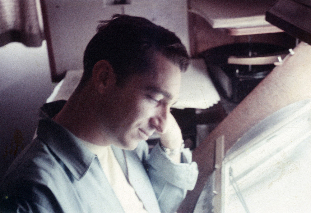 "Assistant animator, Chuck Williams. A rare color photograph of my boss on Walt Disney's animated classic ""Sleeping Beauty."" We shared an office in G-wing back in 1957."