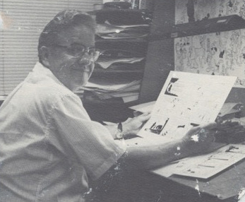 """Don """"Fergie""""Ferguson at his writing and drawing board at the Walt Disney Studio. Don's """"Winnie the Pooh"""" comic strip was a constant delight."""