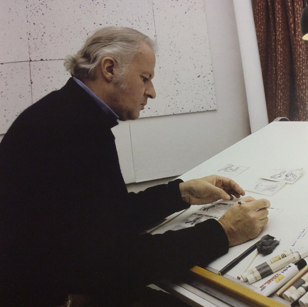 Illustrator, Ralph Macquarrie hard at work creating the Star Wars universe.