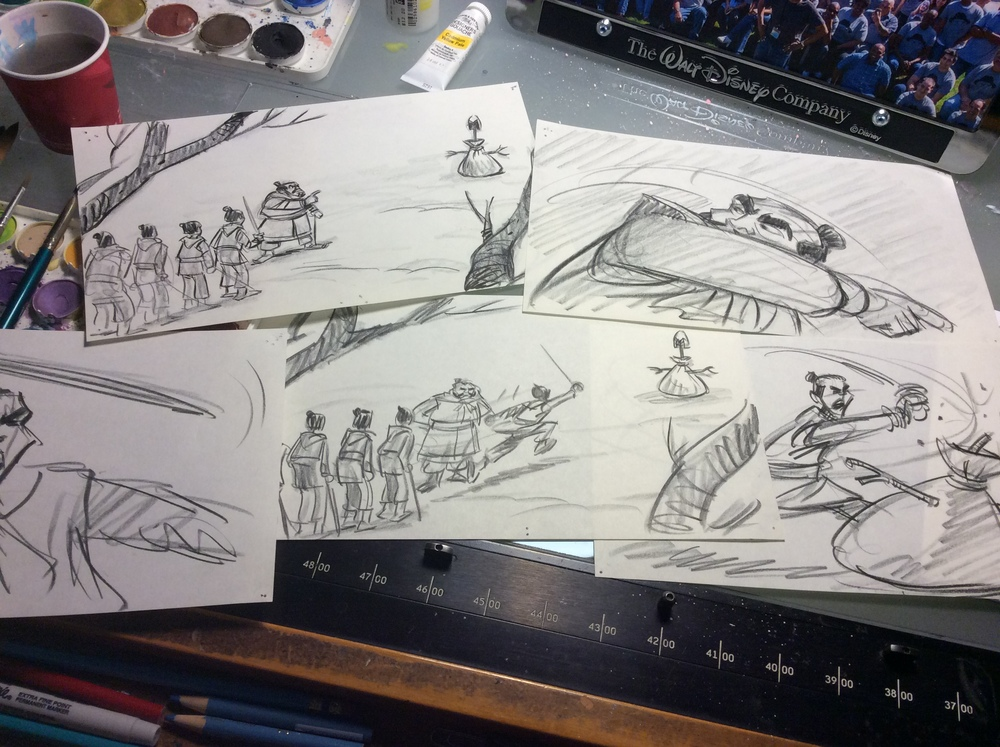 """I began sketching the training sequence for """"Mulan"""" back in 1994. That seems a long time ago."""