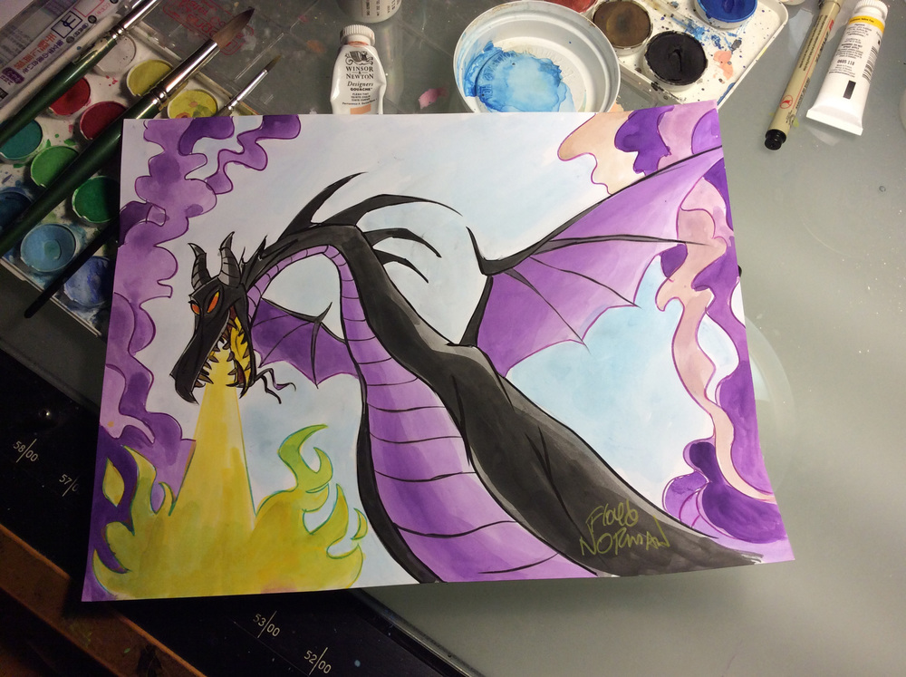 A lovely young woman requested this color sketch of the dragon from Walt Disney's Sleeping Beauty last week in Salt Lake City. I've completed the dragon but there's a fun story that goes with it.
