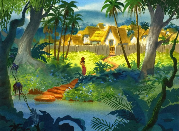 A very cool color sketch of the Man Village by Disney background artist, Al Dempster. We had finally gotten the Mancub home.