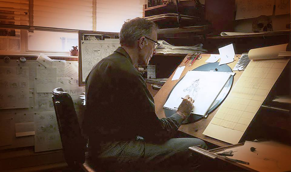 Walt Disney's Master Animator, Frank Thomas at his drawing board. God help you should you screw up one of Frank's scenes. I know. I speak from experience.